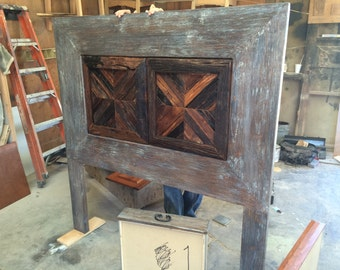 Reclaimed wood distress headboard and nightstands