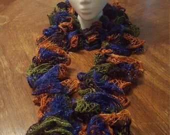 Multicolored Knit Ruffle Scarf