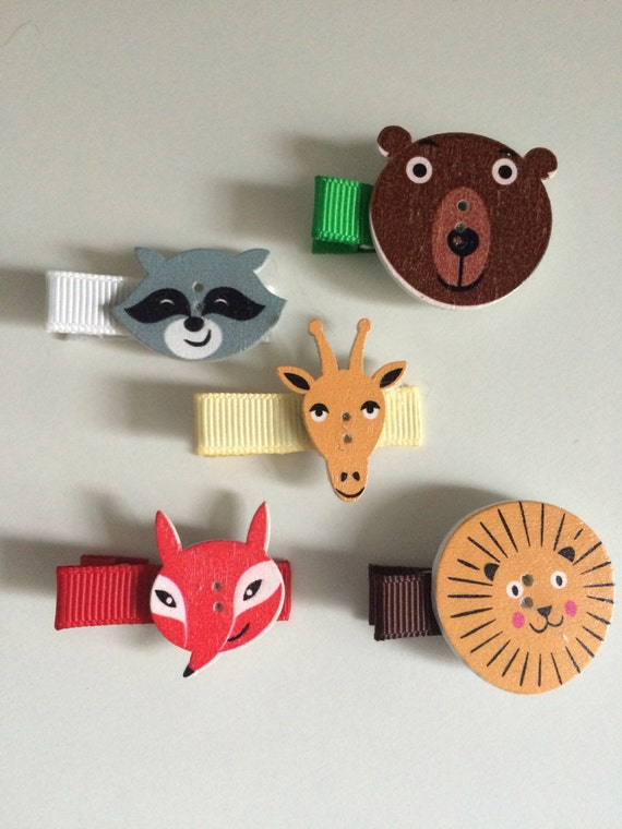 Wild Animal Hair Slides - Set of Five Hair Clips