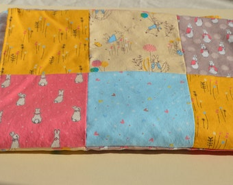 Peter Rabbit patchwork quilt top blanket