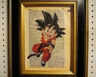DragonBall Z Kid Goku Art Print on Vintage Dictionary Page
