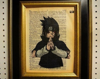 Naruto Sauske Art Print on Vintage Dictionary Page