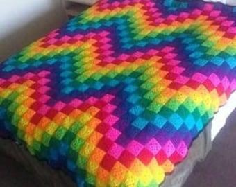 Rainbow crochet afghan
