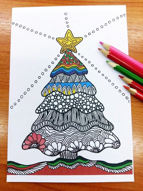 zentangle christmas tree coloring pages adult coloring
