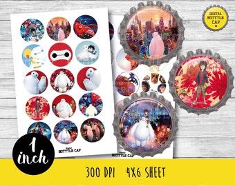 50% OFF SALE 30 Big Hero Bottlecap-Printable Image-Big Hero collage sheet-Big hero 1 inch-Disney bottlecap-Disney 1 inch-Disney-COD35