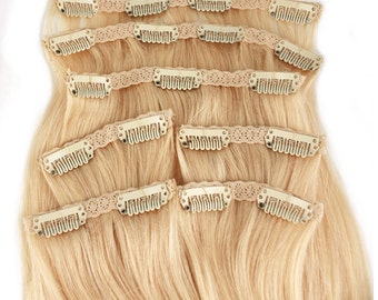 Platinum Blonde: Clip In Human Hair Extensions, Color #613