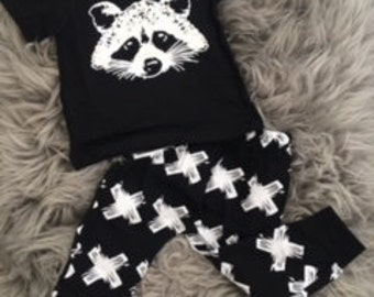 Racoon top and leggings baby boy girl toddler 3 - 6 months