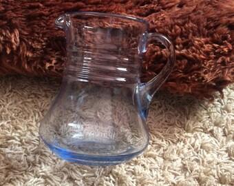 Vintage Hand Blown Pale Blue Glass Large Jug!