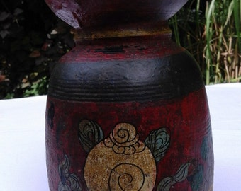 Old wooden Tibetan bottle