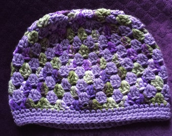 Purple multi colored crochet beanie