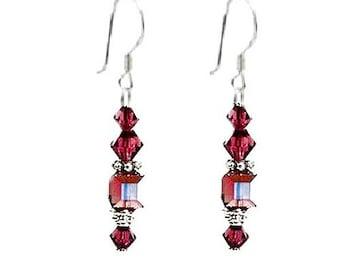 Amethyst Swarovski Crystal & Sterling Silver Earrings