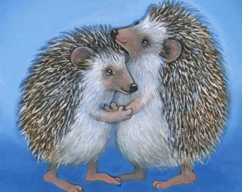 Hedgehog Hug Print, hedgehog art, fun art, anniversary gift, happy art,