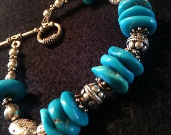 Sleeping Beauty Turquoise Bracelet with Bali Silver