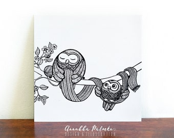 Knitting owl, postcard, coloring card