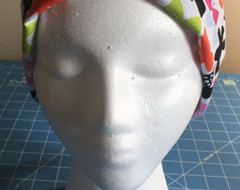 Colorful butterfly tie back scrub/chemo hat