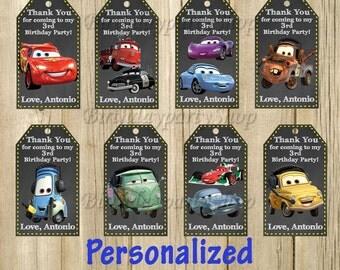 Disney Cars Favor Tag, Personalized, Digital File