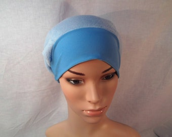 Fleece cap, light blue cap, chemo cap, cancer cap, alopecia