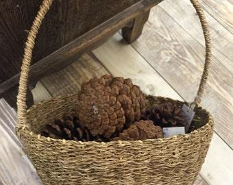 Handmade Wicker Basket Natural Material Basket Country Willow Basket Picnic Basket