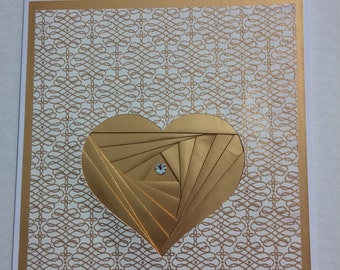 Elegant Heart greeting card Gold foil