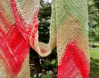 Hand Dyed Hand Spun Hand Knit Kool-aid Scarf