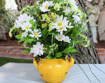 Rustic White and Yellow  Daisy Arrangement - Vibrant Floral Bouquet - Yellow Ceramic Vase - Center Piece
