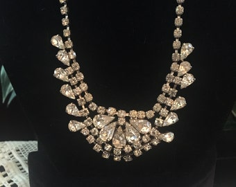 Vintage rhinestone necklace 50s prom clear silver