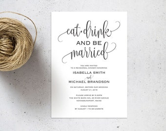 Rehearsal Dinner invitation template, rehearsal printable, modern, invitation templates, wedding rehearsal, pdf instant download, WPC_65SD2A