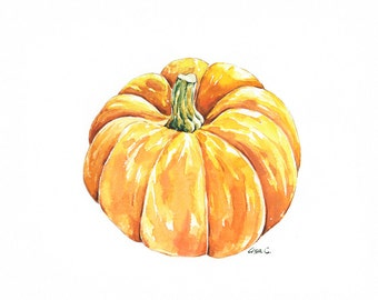 """Pumpkin Watercolor Print  """"Squash No.2"""" Kitchen Wall Decor"""