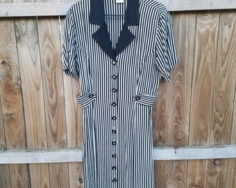 CLEARANCE Vintage Black/Tan Striped Dress by Dawn Joy Fashions - Size 9/10
