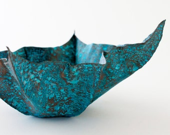 Copper Fold-formed Square Bowl with Lovely Blue Patina