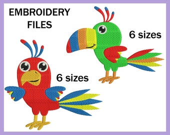 Parrots - Design for Embroidery Machine Digital Graphic Filled Stitch Instant Download Commercial Use animal safari jungle File 57e