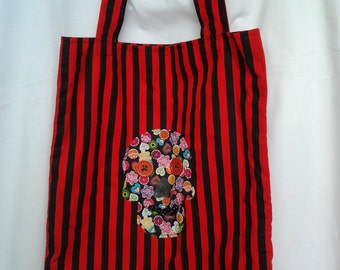 Tote bag ,Sugar Skull applique motif.