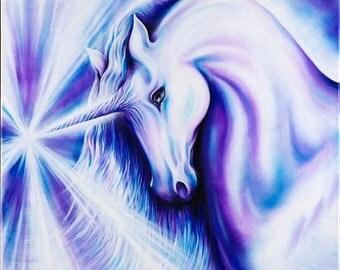 indigo unicorn - A2 giclee print