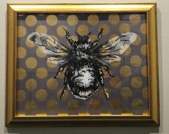bumblebee. hand painted. wall decor. gold metallic frame.