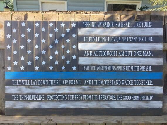 Thin Blue Line Flag American Flag Military Police Large Flag