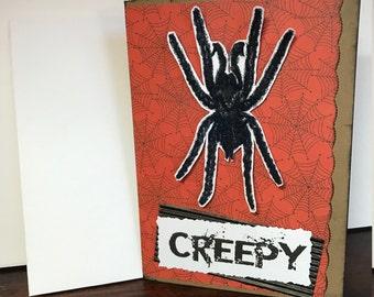 Creepy fuzzy spider Halloween card
