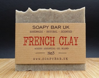 French Clay Natural Handmade Soap scented with A Woody Essential Oil Blend
