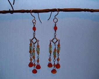 Orange Carnelian,Handmade Sterling Chandelier Earrings, Peridot and Carnealian  Beads W/Carnelian Teardrops
