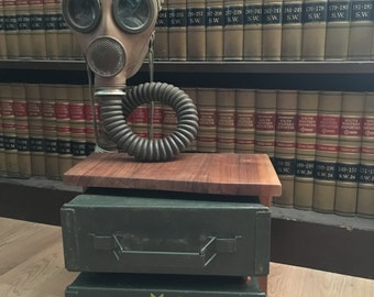Ammo can desk lamp with gas mask