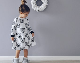insulated dress with a polar bear, dress with bear, winter dress, warm cloth for baby, insulated apparel