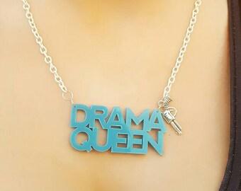Celebrity hip hop kawaii slogan laser cut acrylic pendant necklace on silver plated chain