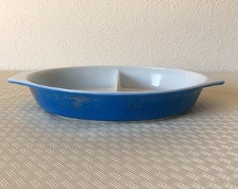 Vintage Cobalt Blue Divided Casserole Baking Dish