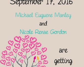 Love Birds in a heart tree save the date
