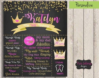 Princess Birthday Chalkboard,  Princess Birthday Board, Princess Chalkboard, Princess Birthday, First Birthday, First Birthday Chalkboard