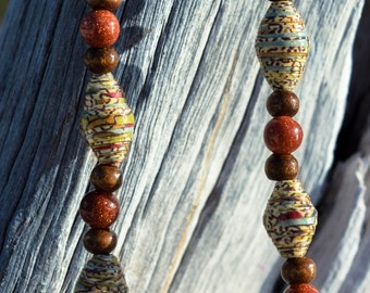Unique multi colored necklace with amber accents