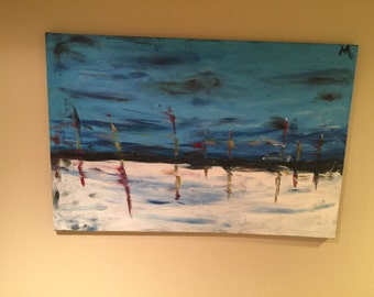 Abstract Blue Painting - 36 x 24