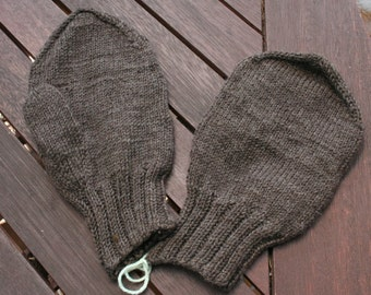 gray brown hand knitted gloves - mittens for the first cold days
