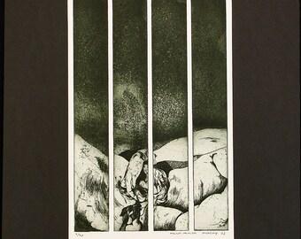 Streifengeburt, 1969. Aquatint by Maina-Miriam MUNSKY