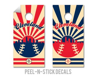 Cleveland Indians Cornhole Board Decals