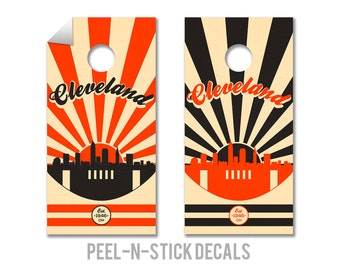 Cleveland Football Cornhole Board Decals